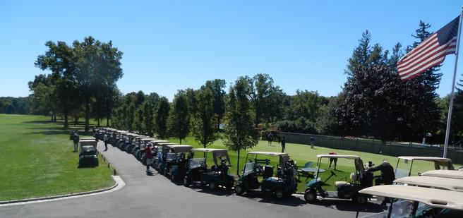 Golf carts on the green at Westchester Hills Golf Club